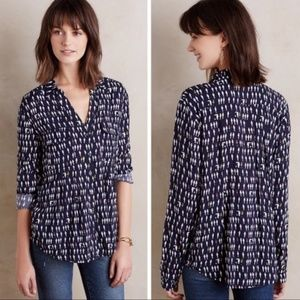 Anthropologie Maeve Parrot Bird Wynwood Buttondown